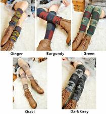 Star Women Wool Leg Warmer Gift Knitted Socks Winter Thigh High Crochet Leggings