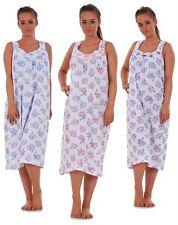 Ladies Women Nightwear Rose Print 100% Cotton Sleeveless Long Nightdress M-3XL