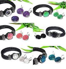 GLITZER Armband Ohrringe Set Brisur silber Button Druckknopf Ohrhänger + AUSWAHL