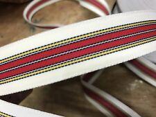 "Vintage 1940's Rayon 7/8"" GrosgrainRibbon 1yd Stripe White Yellow Black & Red"