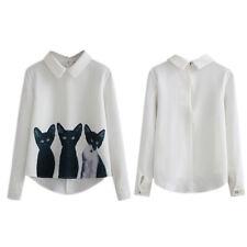 Fashion Women Long Sleeve Blouse Cat Print Chiffon Tops Blouse Casual Shirt JC