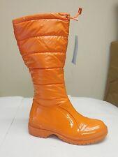 De Blossom Womens Malak-1 Orange Nylon Waterproof Patent Faux Leather Rain Boot