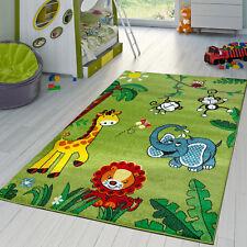 Moderner Kinderzimmer Teppich Zoo Tiere Elefant Giraffe Löwe Affe Eule In Grün