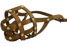 "Genuine Leather Dog Muzzle 12""-3.5"" snout size Amstaff Black Brown"