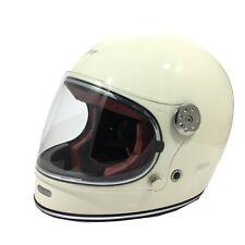VIPER F656 RETRO VINTAGE FIBREGLASS FULL FACE MOTORCYCLE RETRO HELMET WHITE