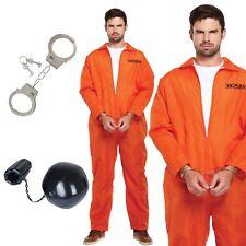 Mens Prisoner Orange Convict Jumpsuit fancy dress Overalls stag costume outfit
