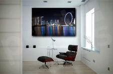 Singapore City At Night Skyline Canvas Art Poster Print