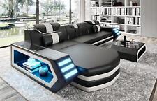 Ledersofa Sofa Couch Sitz Ecke Polster Design Garnitur Wohnlandschaft B4 Schwarz