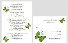 100 Personalized Custom Green Butterfly Bridal Wedding Invitations Set