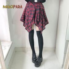 Japanese Harajuku Punk Plaid Checks Asymmetrical Hem Summer Skirt Cool Short