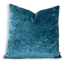 J Brown Modena Designer Luxury Plain Blue Velvet Cushion Lumbar Pillow Cover