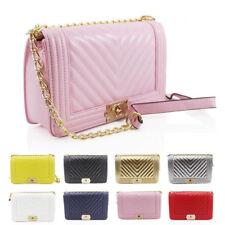 Womens Quilted Pattern Chain Box Design Clutch Crossbody Handbag Messenger Bag