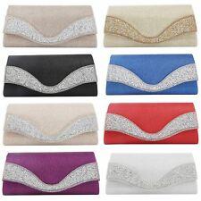 New Satin Glitter Sparkle Diamante Evening Wedding Prom Envelope Clutch Hand Bag