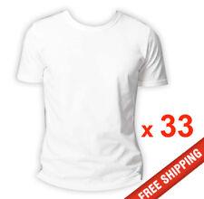 33 x Mens Plain 100% Cotton  Blank T-shirt Crew Tee White Bulk Cheap Wholesale