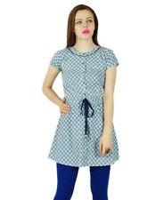 Bimba Women Blue Short Tunic Cotton Kurti Casual Summer Wear