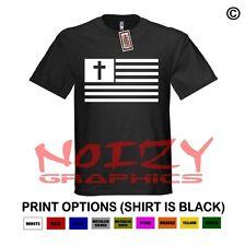 American Flag Cross #1 Christian Shirt Black T-Shirt Jesus USA Faith Religious