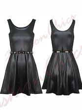 Women PVC Wet Leather Look Ladies Bodycon Sleeveless Midi Dress Stretch Top 8-26