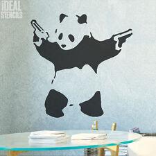 BANKSY STENCIL Pandamonium Panda Guns Reusable Art Painting Decor Ideal Stencils