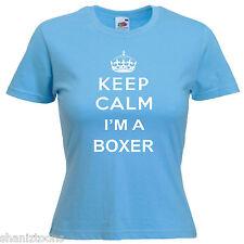 Keep Calm Boxer Boxing Ladies Lady Fit T Shirt 13 Colours Size 6 - 16