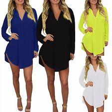 Boyfriend Shirt Plus Size Women Sheer Chiffon Blouse Long Sleeve With Pocket 6XL