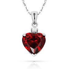 3.07Ct White Sapphire & Heart Garnet Charm Pendant14K White Gold w/Chain