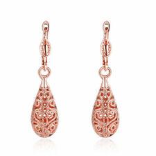 Antique Style Stunning 18K Rose GOLD Filled Filigree Drop Earrings VINTAGE LOOK