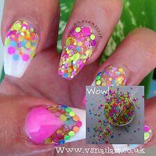 Mezcla de neón mate Brillo Holográfico & Iridiscente Reino Unido Vendedor nail art uñas confeti
