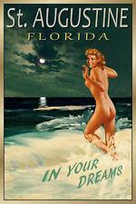St Augustine Florida Original Travel Poster Marilyn Beach Pin Up Art Print 169