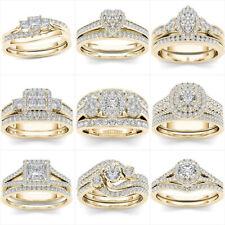 Gorgeous 18k Yellow Gold Plated Rings Women White Sapphire Wedding Rings Sz 6-10