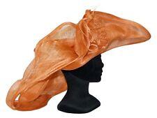 CHAPEAU taille S / M de cérémonie mariage femme 3CD FRANCE orange brique ivoire