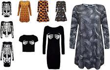 Nouveau femme halloween robe femme citrouille squelette imprimé midi robe swing 8-26