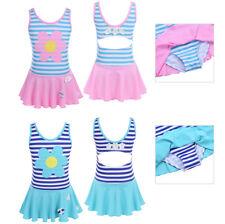 Girls Kids Striped Flower Skirt Swimsuit Swimwear Bathing Swimming Surf Costume