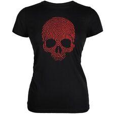 Fingerprint Skull Black Juniors Soft T-Shirt