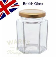 24 x 8oz /195ml HEXAGONAL GLASS JAM JAR, CHUTNEY, PICKLE, HONEY - FREE DELIVERY