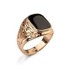 Herren Ring, Siegel Ring, College Ring, Roségold plattiert/emailliert (HR0082)