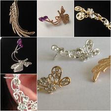 Crystal Diamante Flower Butterfly Ear Cuff Clip On Stud Earring Right Ear