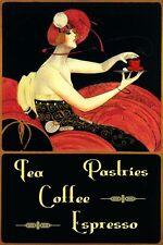 Fashion Lady Tea Pastries Coffee Espresso Restaurant Vintage Poster Repr FREE SH