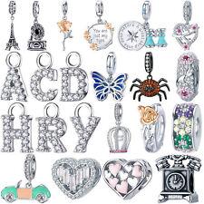 925 Sterling Silver Charms Diy Pendants Alphabets Letter Fit Bracelet Necklace