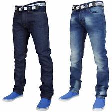 Mens Straight Leg Jeans Denim Casual Pants Regular Cotton Trouser With Free Belt