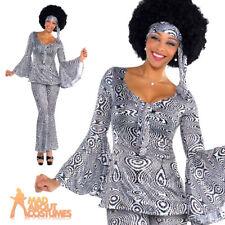 Dancing Queen Costume Ladies 1970's Fancy Dress Disco Diva Outfit New