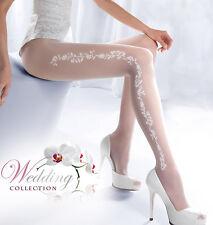 Braut Hochzeit gemusterte Strumpfhosen 20DEN Gr. S,M,L in weiß