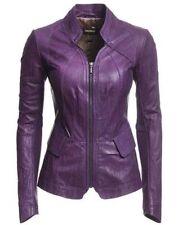 Womens Genuine Lambskin Real Leather Motorcycle Slim Fit Biker Jacket Vintage S