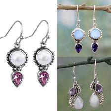 Fashion Silver Plated Jewelry Amethyst Earrings Handmade Moonstone Eardrop Gifts