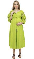 Bimba Mütter Puff Ärmel Kordelzug Pflege Grün Mutterschaft Kleid