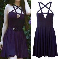 Mini Dress Black Pentagram Summer Women Goth Dress Sexy Fashion