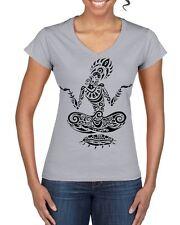 Tribal Yoga Lotus Pose Tattoo Large Print V Neck Women's T-Shirt - Meditataion