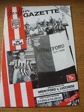 24/11/1992 Brentford V Lucchese [Anglo-Italien Cup] (plié). Aucune évidence défauts,