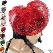 Cappello cerimonia Donna piume rosso FASCINATOR stola BURLESQUE pochette D0384