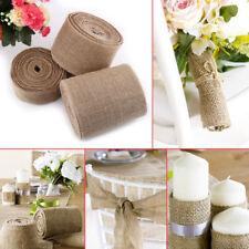 10M Natural Burlap Jute Hessian Flax Ribbon Roll Wedding Decor 5/10/15/30cm Wide