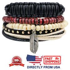 Tribal Wood Beads and Feather Leather Men Women Wristband Bracelet 4pcs Set